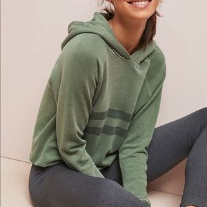 Anthropologie Sundry green olive striped hoodie